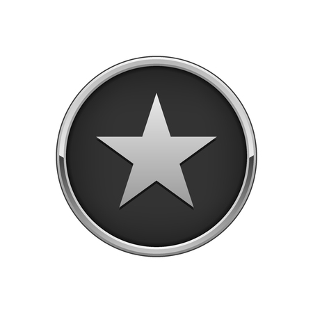 Silver black round badge with star icon