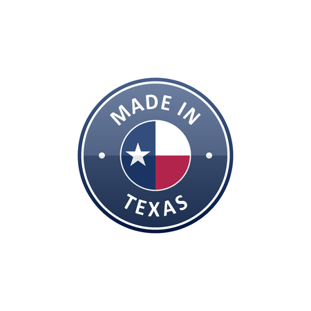 Made in Texas round label with The flag of Texas