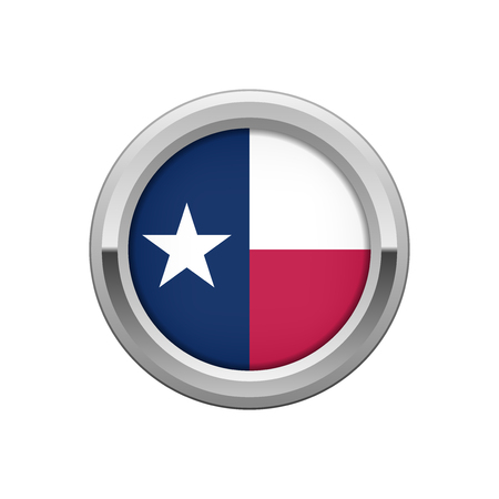 Silver round badge with The flag of Texas