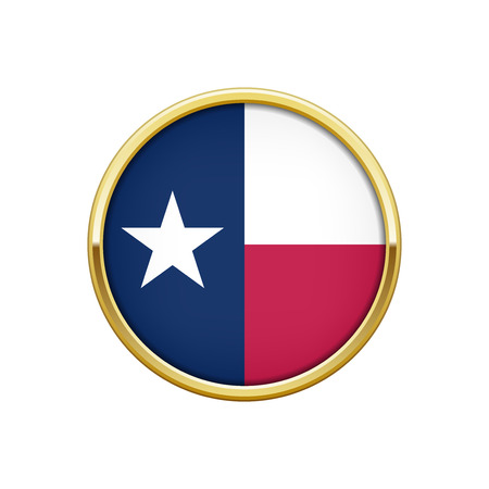 Gold round badge with The flag of Texas