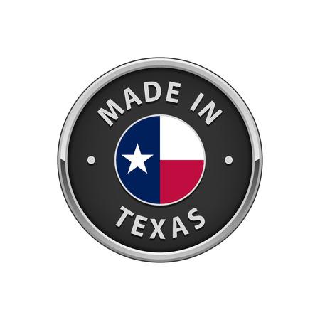 Made in Texas round badge with The flag of Texas Illustration
