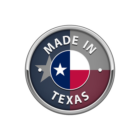 Made in Texas badge with The flag of Texas
