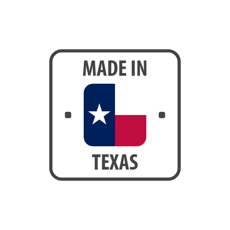 Made in Texas label with The flag of Texas