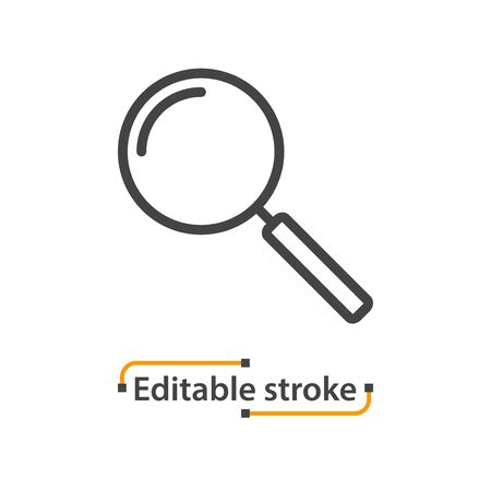 Magnifying glass line icon, search symbol. Editable stroke.