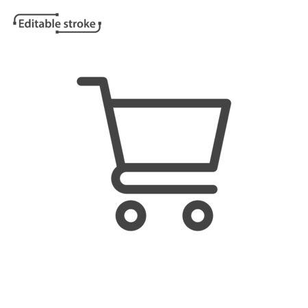 Shopping cart line icon. Editable stroke.  イラスト・ベクター素材