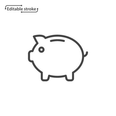 Piggy bank vector icon. Editable stroke.