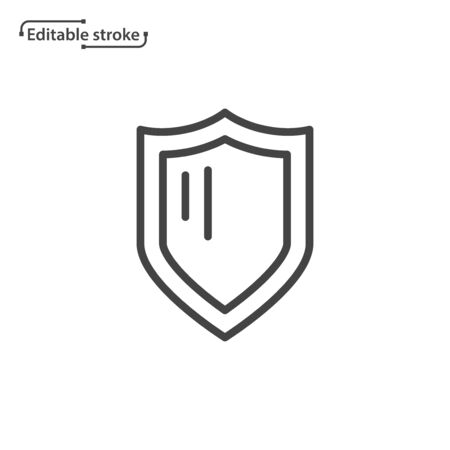 Shield line vector icon. Editable stroke.