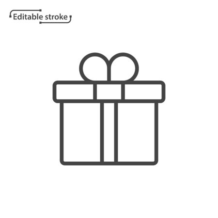 Gift box line vector icon. Editable stroke.