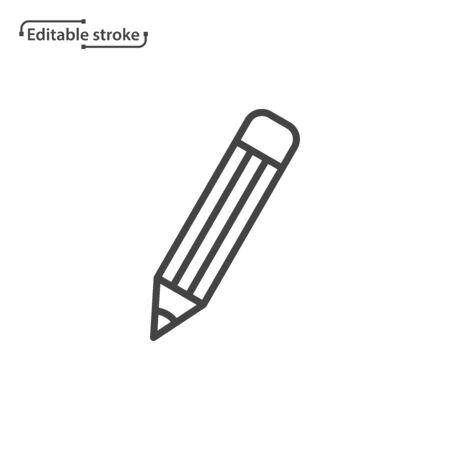 Pencil line vector icon. Editable stroke.