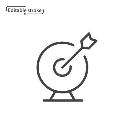 Target with arrow line vector icon. Editable stroke.