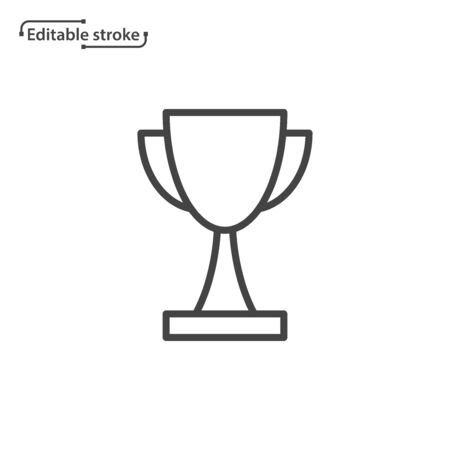 Trophy cup line vector icon. Editable stroke.