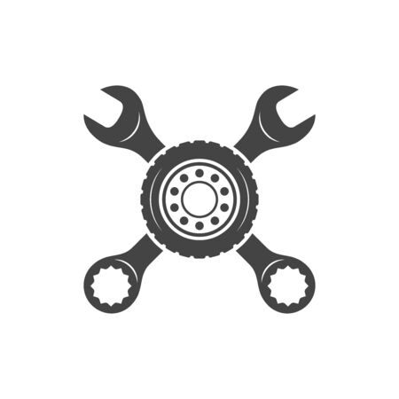 Crossed wrenches & wheel vector silhouettes. Auto repair and maintenance logo.