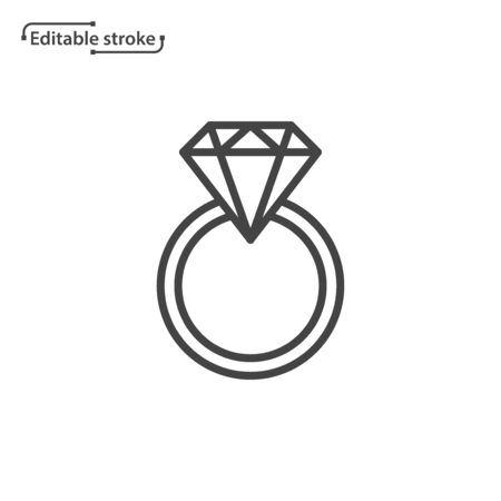 Ring with gemstone line vector icon. Editable stroke.