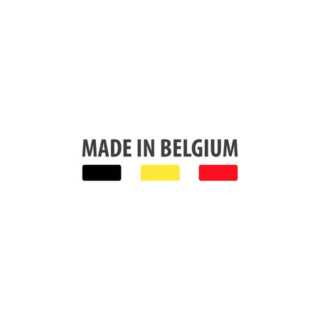 Made in Belgium label with Belgian flag colors