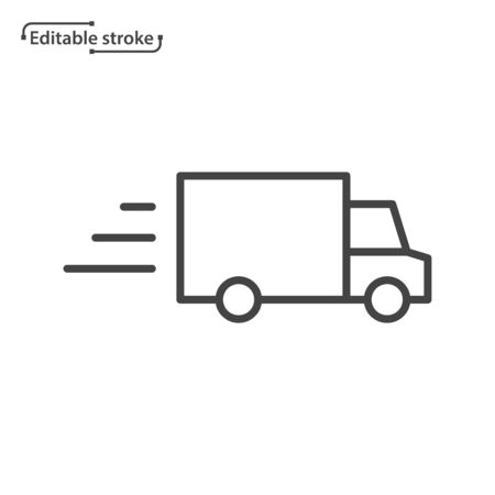 Delivery truck line vector icon. Editable stroke.  イラスト・ベクター素材