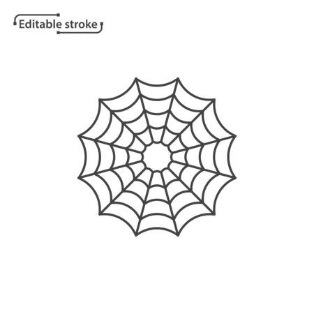 Spider web line vector icon. Editable stroke.  イラスト・ベクター素材