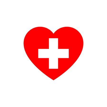 Flag of Switzerland heart silhouette  イラスト・ベクター素材