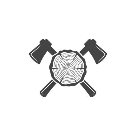 Crossed axes and wood log. Lumberjack logo. Editable strokes.  イラスト・ベクター素材