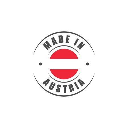 Made in Austria round label with Austrian flag