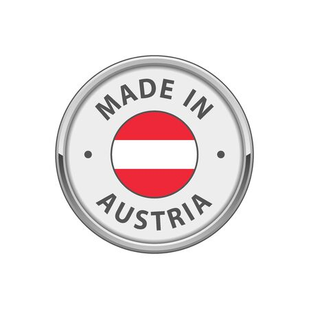 Made in Austria badge with Austrian flag