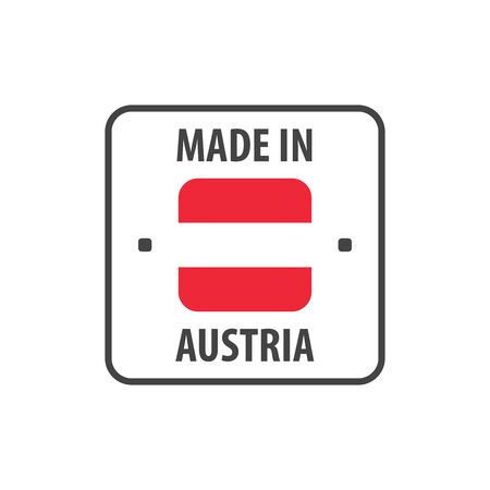 Made in Austria label with Austrian flag