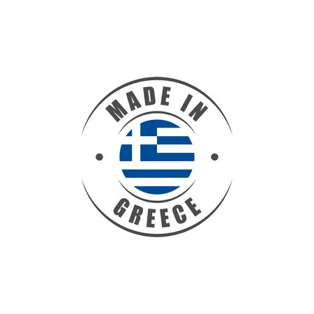 Made in Greece label with Greek flag