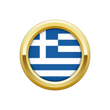 Gold badge with Greek flag