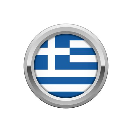 Silver badge with Greek flag