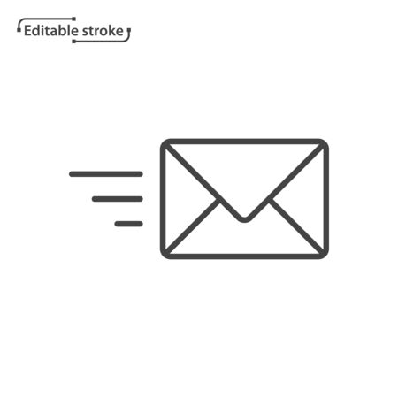 Envelope line icon, message, mail, email, letter symbol. Delivery icon. Editable stroke.