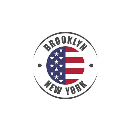 Brooklyn New York City badge with USA flag icon