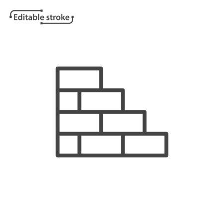 Brick wall line vector icon. Editable stroke. Ilustração