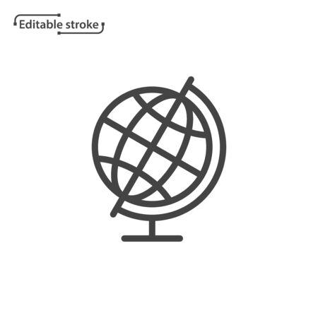 World globe line vector icon. Editable stroke.