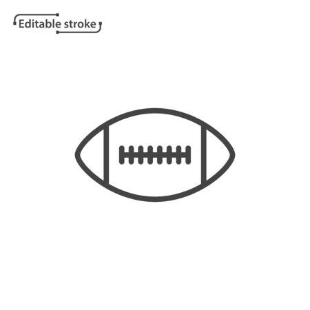 American football ball line vector icon. Editable stroke.