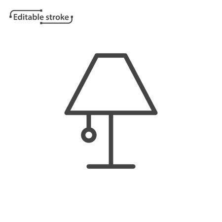 Table lamp line vector icon. Editable stroke. Ilustração