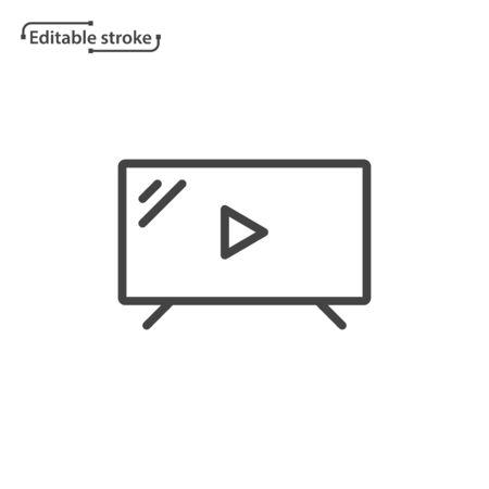 Tv line icon. Editable stroke.