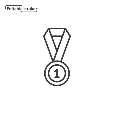 Medal with ribbon line vector icon. Editable stroke.