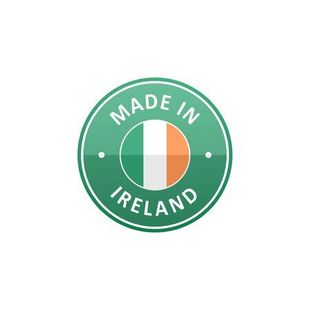 Made in Ireland label with Irish flag Ilustração