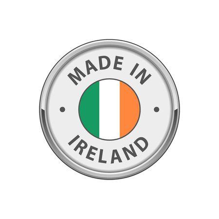 Made in Ireland badge with Irish flag