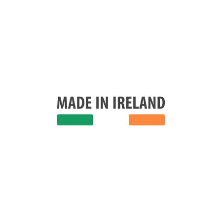 Made in Ireland label with Irish flag colors