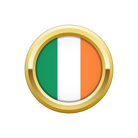 Flag of Ireland gold badge Ilustração