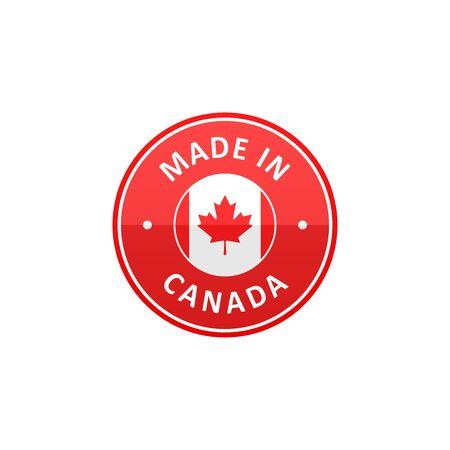 Made in Canada label with Canadian flag Ilustração