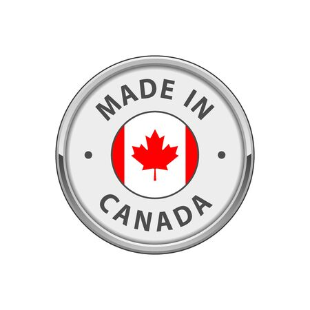 Made in Canada badge with Canadian flag