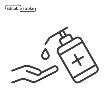 Hand sanitizer line vector icon. Editable stroke.