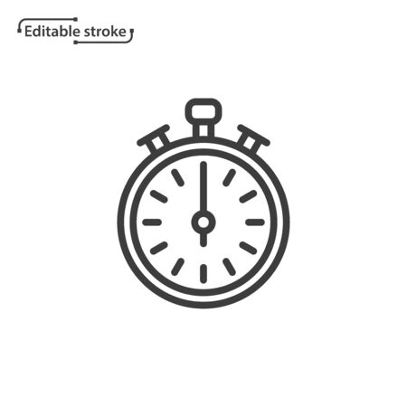 Stopwatch line vector icon. Editable stroke.  イラスト・ベクター素材