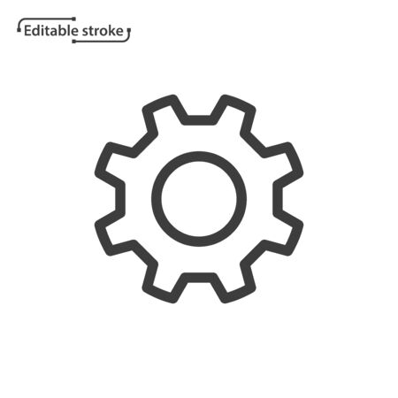 Gear line vector icon. Editable stroke.