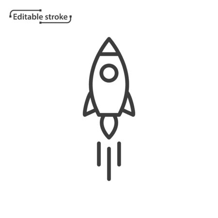Rocket line vector icon. Editable stroke.  イラスト・ベクター素材
