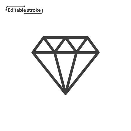 Diamond line vector icon. Editable stroke.