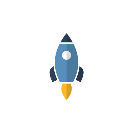 Rocket flat vector icon isolated on white background
