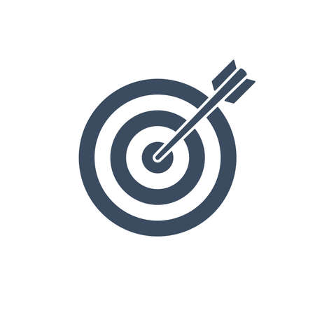 Target with arrow flat vector icon.