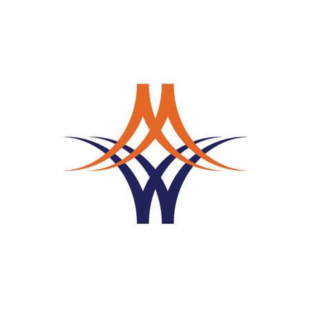 Abstract MW letter initial logo design